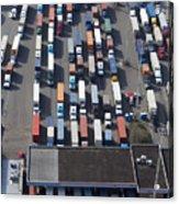 Aerial View Of Semi Trucks At Port Acrylic Print by Don Mason