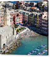 Aerial View Of Vernazza, Cinque Terre, Liguria, Italy Acrylic Print