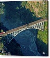 Aerial View Of Victoria Falls Suspension Bridge Acrylic Print