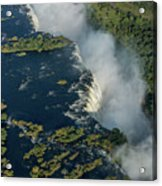 Aerial View Of Victoria Falls With Bridge Acrylic Print
