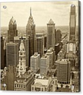Aerial View Philadelphia Skyline Wth City Hall Acrylic Print