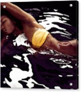 African American Woman In Bikini Lying In Black Water Acrylic Print