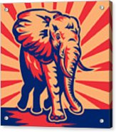 African Bull Elephant Charging Retro Acrylic Print by Aloysius Patrimonio