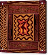 African Collage Rust Acrylic Print