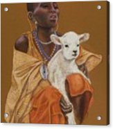 African Girl With Lamb Acrylic Print