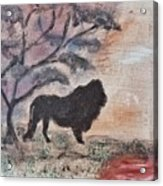 African Landscape Lion And Banya Tree At Watering Hole With Mountain And Sunset Grasses Shrubs Safar Acrylic Print