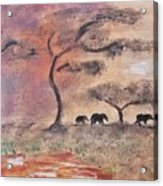 African Landscape Three Elephants And Banya Tree At Watering Hole With Mountain And Sunset Grasses S Acrylic Print