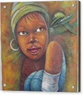 African Woman Portrait- African Paintings Acrylic Print
