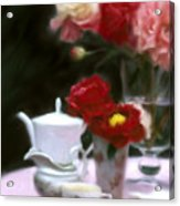 Afternnon Tea With Peonies Acrylic Print