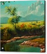 Afternoon By The River With Peaceful Landscape L B Acrylic Print