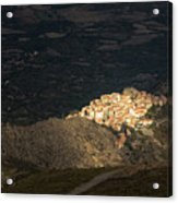 Afternoon Sun Lighting Up Village Of Speloncato In Corsica Acrylic Print