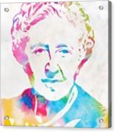 Agatha Christie Watercolor Tribute Acrylic Print