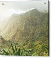 Agave Plants And Rocky Mountains. Santo Antao. Acrylic Print