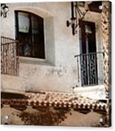 Aged Stucco Building Balcony With Terracotta Roof Acrylic Print