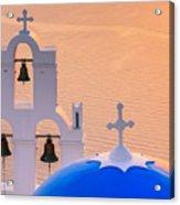 Aghioi Theodoroi Church At Firostefani, Santorini Acrylic Print