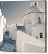 Agios Minas Santorini Bw Acrylic Print