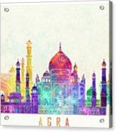 Agra Landmarks Watercolor Poster Acrylic Print