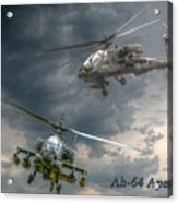 Ah-64 Apache Attack Helicopter In Flight Acrylic Print by Randy Steele