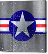 Air Force Logo On Riveted Steel Plane Fuselage Acrylic Print