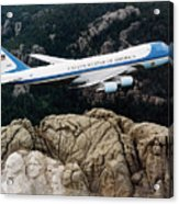 Air Force One Flying Over Mount Rushmore Acrylic Print