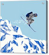 Airborn Skier Flying Down The Ski Slopes Acrylic Print