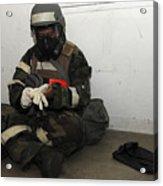 Airman Dons His Chemical Warfare Acrylic Print