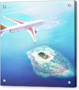 Airplane Flying Over Maldives Islands On Indian Ocean. Travel Acrylic Print