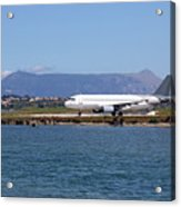 airplane on airport Corfu island Greece Acrylic Print