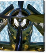 Airplane Propeller And Engine Navy Acrylic Print