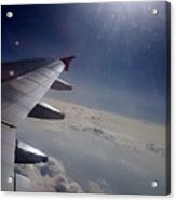 Airplane Wing In Clouds Acrylic Print