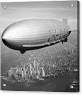 Airship Flying Over New York City Acrylic Print