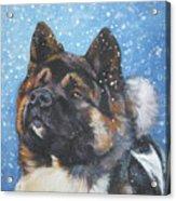 Akita In Snow Acrylic Print