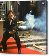 Al Pacino As Tony Montana With Machine Gun Blasting His  Fellow Bad Guys Scarface 1983 Acrylic Print
