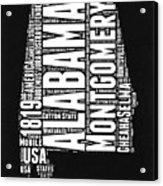 Alabama Word Cloud Black and White Map Acrylic Print