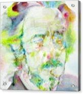 Alan Watts - Watercolor Portrait.3 Acrylic Print