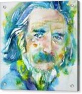 Alan Watts - Watercolor Portrait.4 Acrylic Print