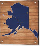 Alaska Map And Flag On Wood Acrylic Print