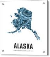 Alaska Map Art Abstract In Blue Acrylic Print