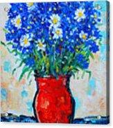 Albastrele Blue Flowers And Daisies Acrylic Print by Ana Maria Edulescu