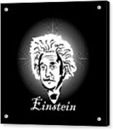 Albert Einstein Caricature On A White Glow Acrylic Print