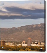 Albuquerque Skyline With The Sandia Mountains In The Background Acrylic Print by Jeremy Woodhouse