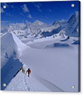 Alex Lowe On Mount Bearskin 2850 M Acrylic Print by Gordon Wiltsie