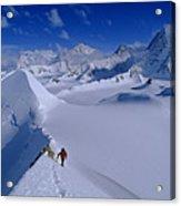 Alex Lowe On Mount Bearskin 2850 M Acrylic Print by Gordon Wiltsie
