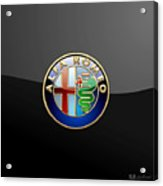 Alfa Romeo - 3 D Badge On Black Acrylic Print