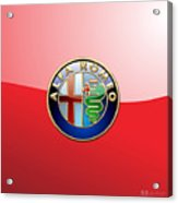 Alfa Romeo - 3d Badge On Red Acrylic Print