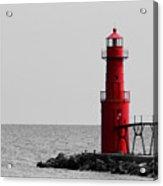 Algoma Lighthouse Bwc Acrylic Print by Mark J Seefeldt