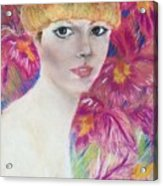 Ali Macgraw In Orange Hat Acrylic Print