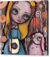 Alice And The Pink Bunny Acrylic Print