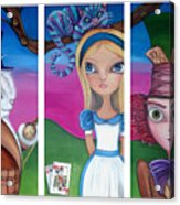 Alice In Wonderland Inspired Triptych Acrylic Print