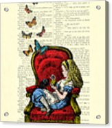 Alice In Wonderland Playing With Cute Cat And Butterflies Acrylic Print